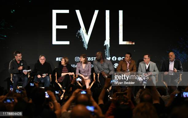"""Robert King Michelle King Katja Herbers Mike Colter Aasif Mandvi Michael Emerson and Kurt Fuller speak during """"Evil"""" Exclusive Screening and Panel..."""
