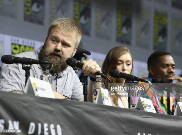 Robert Kirkman Alycia DebnamCarey and Colman Domingo attend the 'Fear the Walking Dead' panel with AMC during ComicCon International 2018 at San...