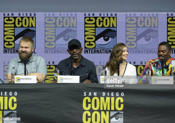 Robert Kirkman Lennie James Alycia DebnamCarey and Colman Domingo speak onstage at AMC's 'Fear The Walking Dead' panel during ComicCon International...