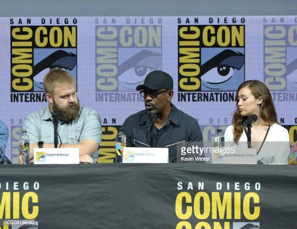 Robert Kirkman Lennie James and Alycia DebnamCarey speak onstage at AMC's 'Fear The Walking Dead' panel during ComicCon International 2018 at San...