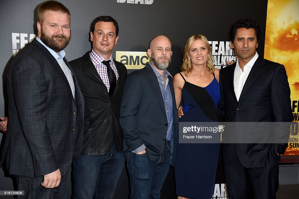 Robert Kirkman, producers David Alpert and Dave Erickson and actors Kim Dickens and Cliff Curtis attend the premiere of AMC's 'Fear The Walking Dead' Season 2 at Cinemark Playa Vista on March 29, 2016 in Los Angeles, California.