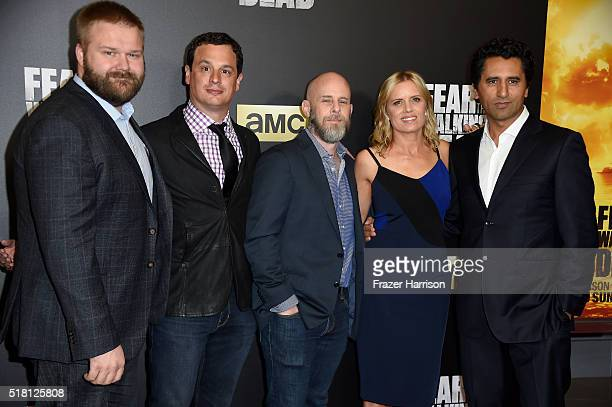 Robert Kirkman producers David Alpert and Dave Erickson and actors Kim Dickens and Cliff Curtis attend the premiere of AMC's 'Fear The Walking Dead'...