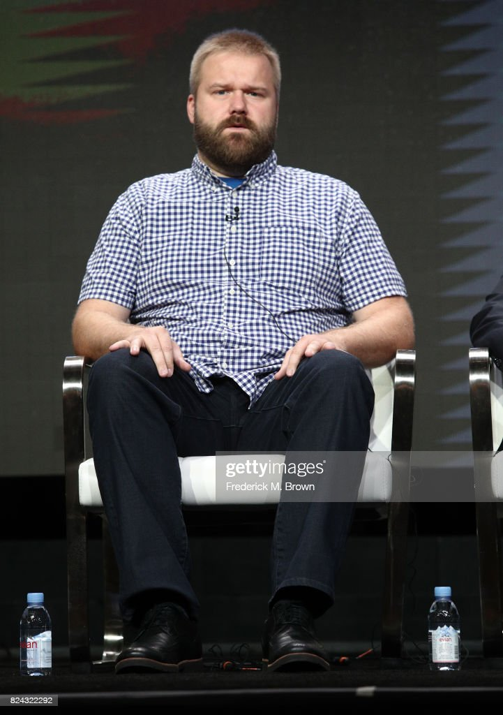 Robert Kirkman speaks onstage at AMC Visionaries: Robert Kirkman's Secret History of Comics during the AMC portion of the 2017 Summer Television Critics Association Press Tour at The Beverly Hilton Hotel on July 29, 2017 in Beverly Hills, California.