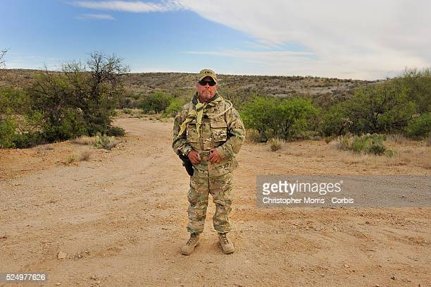 Robert Kirschenmann of Oregon a member of the Patriots Border AllianceMinutemen during a search operation for illegal immigrants in the Sonora Desert...