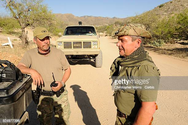 Robert Kirschenmann of Oregon and operation leader Joe Adams members of the Patriots Border Alliance Minutemen during a search operation for illegal...
