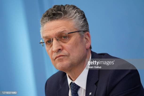 Robert Koch Institute President Lothar Wieler speaks to the media with other health leaders during the coronavirus crisis on April 17 2020 in Berlin...