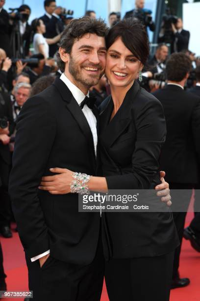 Robert Konjic and Catrinel Marlon attend the screening of Ash Is The Purest White during the 71st annual Cannes Film Festival at Palais des Festivals...