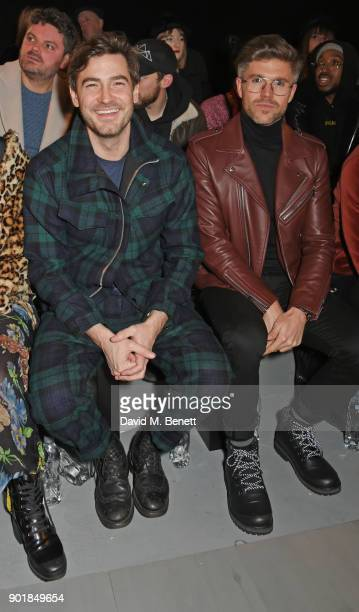 Robert Konjic and Darren Kennedy attend the Oliver Spencer LFWM AW18 Catwalk Show at the BFC Show Space on January 6 2018 in London England