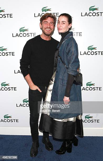 Robert Konjic and Erin O'Connor attend the Lacoste VIP Lounge at the ATP World Finals 2015 at The O2 Arena on November 22 2015 in London England