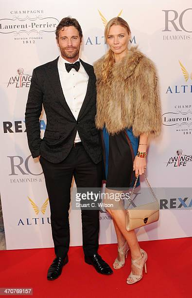 Robert Konjic and Jodie Kidd attend In Aid Of Wings For Life at The Cord Club on February 20 2014 in London England