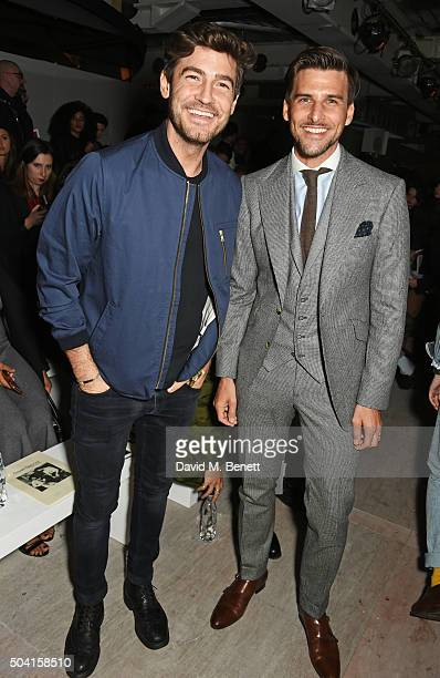 Robert Konjic and Johannes Huebl attend the Oliver Spencer front row during London Collections Men AW16 at 180 The Strand on January 9 2016 in London...