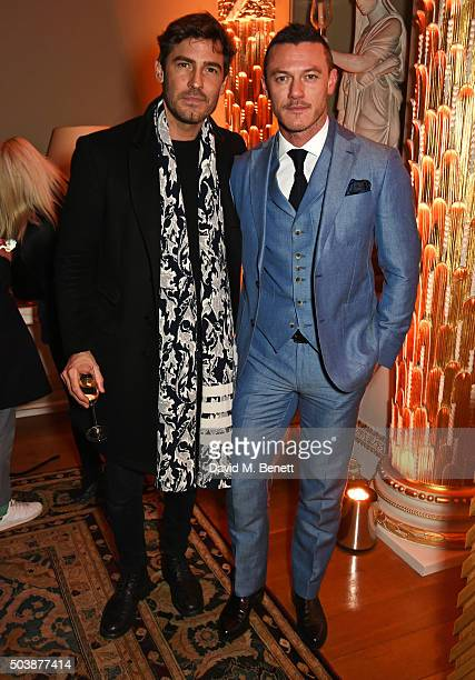 Robert Konjic and Luke Evans attend the London Collections Men AW16 opening party hosted by the British Fashion Council and GQ Editor Dylan Jones at...