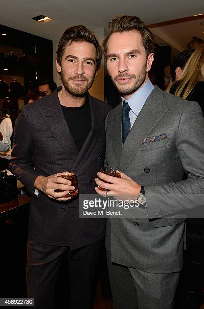Robert Konjic and Luke Sweeney attend the opening of their new Thom Sweeney RTW & MTM Store on November 13, 2014 in London, England.