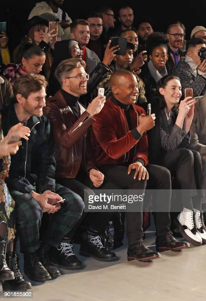 Robert Konjic Darren Kennedy Eric Underwood and Erin OÕConnor sit in the front row at the Oliver Spencer LFWM AW18 Catwalk Show at the BFC Show Space...