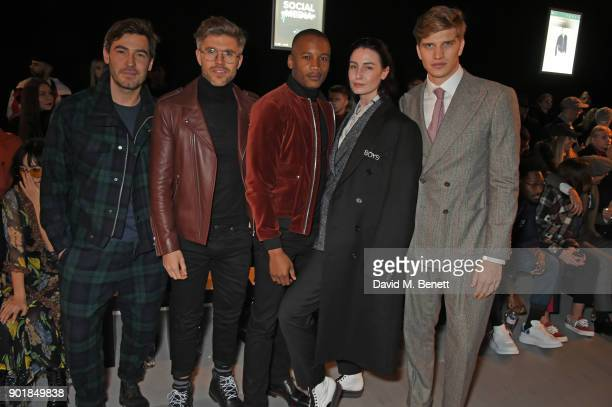 Robert Konjic Darren Kennedy Eric Underwood Erin O'Connor and Toby HuntingtonWhiteley attend the Oliver Spencer LFWM AW18 Catwalk Show at the BFC...