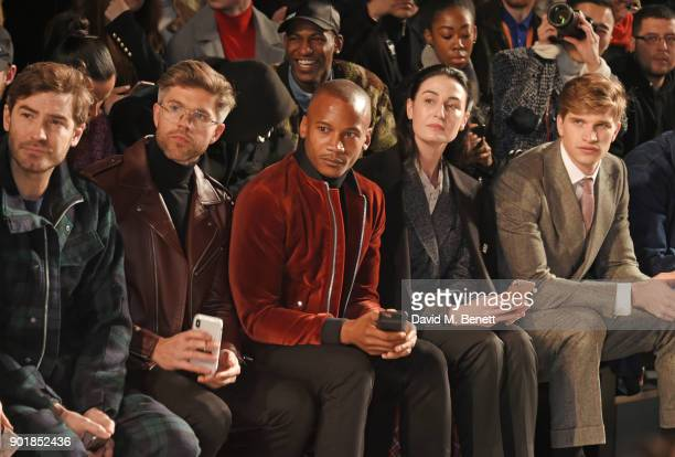 Robert Konjic Darren Kennedy Eric Underwood Erin OÕConnor and Toby HuntingtonWhiteley sit in the front row at the Oliver Spencer LFWM AW18 Catwalk...