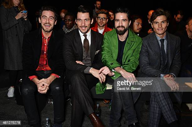 Robert Konjic David Gandy Jack Guinness and Oliver Cheshire attend the front row at the Oliver Spencer show during London Collections Men AW15 at The...
