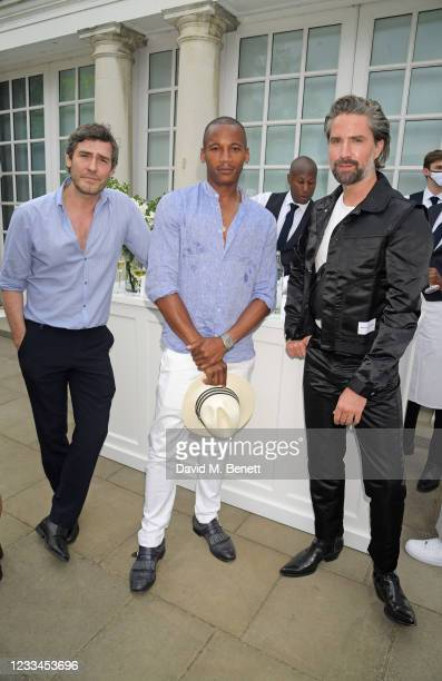 Robert Konjic, Eric Underwood and Jack Guinness attend a drinks reception celebrating 2021 BFC/GQ Designer Menswear Fund winner Priya Ahluwalia...