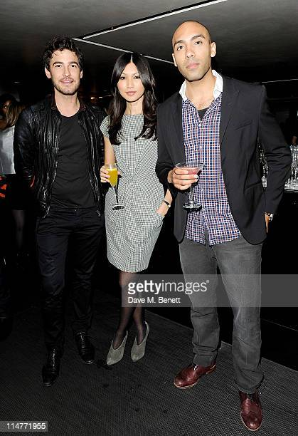 Robert Konjic Gemma Chan and attends the launch of the summer menu at the Emporio Armani Caffe on May 26 2011 in London England