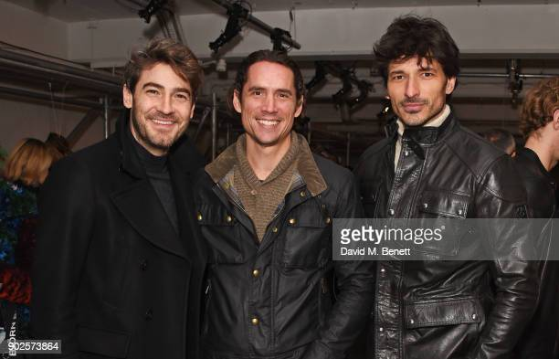 Robert Konjic Wynton Faure and Andres Velencoso attend the Belstaff presentation during London Fashion Week Men's January 2018 at The Vinyl Factory...