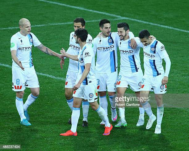 Robert Koren of Melbourne City celebrates with team mates after scoring a goal during the FFA Cup Round of 16 match between Melbourne City FC and...