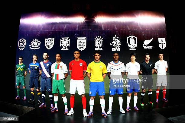 Robert Koren of Solvenia, Vince Grella of Australia, Clint Dempsey of USA, Nani of Portugal, one Umbro-sponsored team Jermaine Jenas of England,...