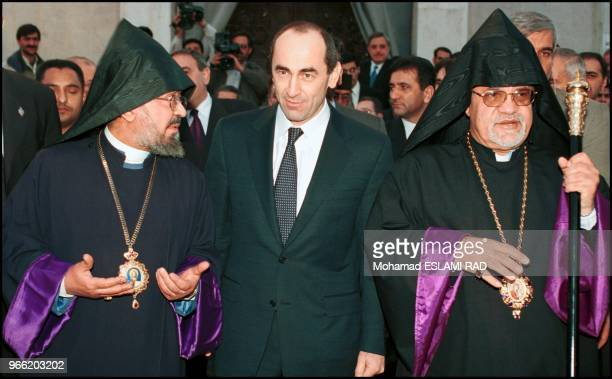 Robert Koucharian the president of armania visit Iranian christian community at the St Sarkis church in TehranHe participate the ceremony for...