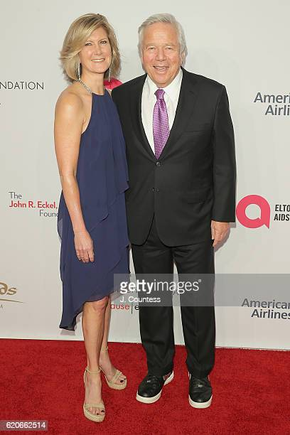 Robert Kraft and a guest attend the 15th Annual Elton John AIDS Foundation An Enduring Vision Benefit at Cipriani Wall Street on November 2 2016 in...