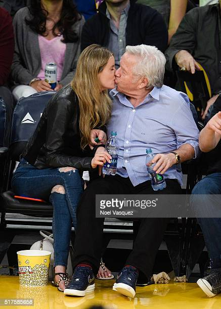 Robert Kraft and Ricki Noel Lander kiss at a basketball game between the Denver Nuggets and the Los Angeles Lakers at Staples Center on March 25 2016...