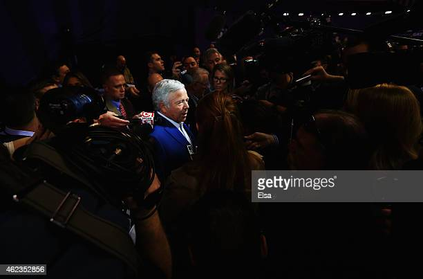 Robert Kraft chairman and CEO of the New England Patriots addresses the media at Super Bowl XLIX Media Day Fueled by Gatorade inside US Airways...