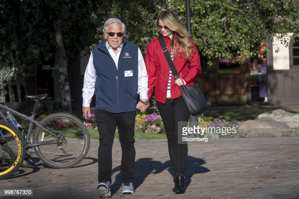 Robert Kraft chief executive officer and founder of Kraft Group left and Ricki Lander arrive for the morning session at the Allen Co Media and...