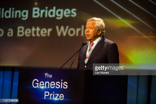 Robert Kraft gives a speech on stage during the Genesis Prize ceremony at The Jerusalem Theater on June 20 2019 in Jerusalem Israel