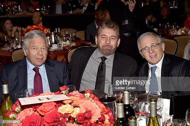 Robert Kraft James L Dolan and honoree Irving Azoff attends the 2016 PreGRAMMY Gala and Salute to Industry Icons honoring Irving Azoff at The Beverly...