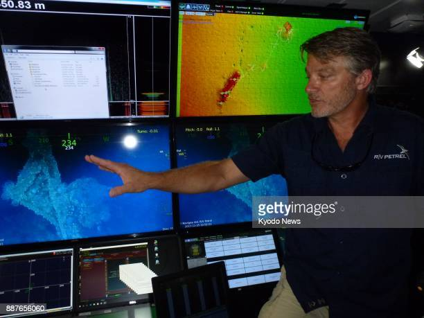 Robert Kraft leader of a deepsea exploration mission funded by billionaire Microsoft cofounder and philanthropist Paul Allen shows images of what are...