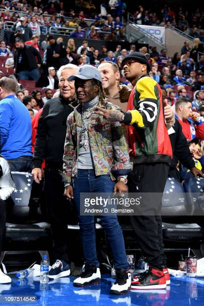 Robert Kraft Lil Uzi Vert Michael Rubin and Allen Iverson pose for a photo after the game between the Philadelphia 76ers and the Los Angeles Lakers...