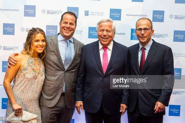 Robert Kraft surrounded by family during the red carpet at the Genesis Prize at The Jerusalem Theater on June 20 2019 in Jerusalem Israel