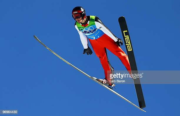 Robert Kranjec of Slovenia competes in the men's ski jumping team event on day 11 of the 2010 Vancouver Winter Olympics at Whistler Olympic Park Ski...