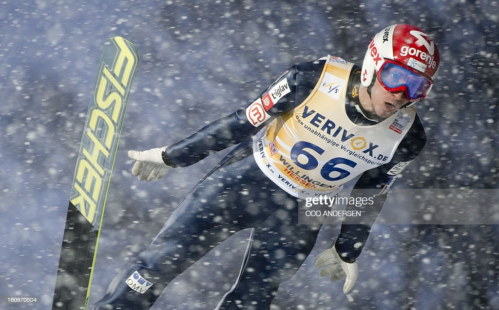 Robert Kranjec of Slovenia jumps during the training run at the FIS Ski Jumping World Cup on the Muehlenkopfschanze hill in Willingen, western Germany, on February 8, 2013. Heavy snowfall made the conditions challenging for the athletes.