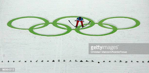 Robert Kranjec of Slovenia performs a jump during a Ski Jumping training session ahead of the Vancouver 2010 Winter Olympics at the Ski Jumping...