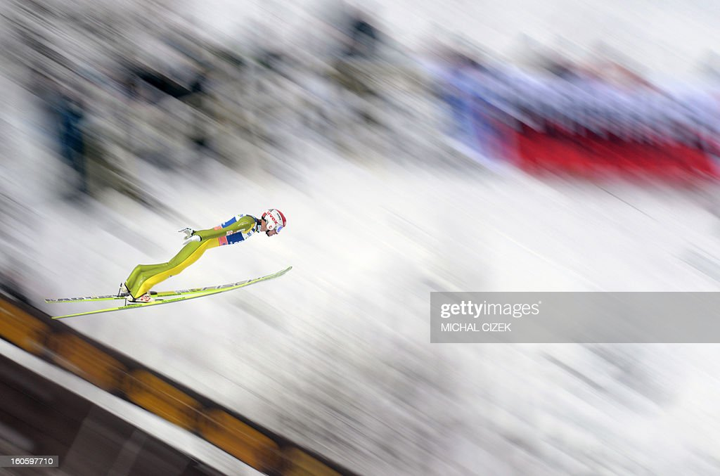 Robert Kranjec of Slovenia soars through the air during the second competition of the Ski Flying event of the FIS Ski Jumping World Cup in Harrachov on February 03, 2013.Gregor Schlierenzauer of Austria won this event ahead Jan Matura of the Czech Repuplic (2nd) and Jurij Tepes of Slovenia (3rd).
