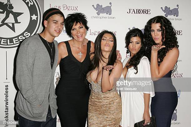 Robert Kris Kim Kourtney and Khloe Kardashian arrive at Kim Kardashian's Birthday Party at Les Deux on October 21 2007 in Los Angeles California