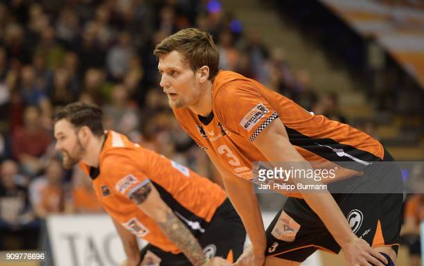 Robert Kromm of the Berlin Recycling Volleys during the game between the Berlin Recycling Volleys and the VfB Friedrichshafen on january 24 2018 in...