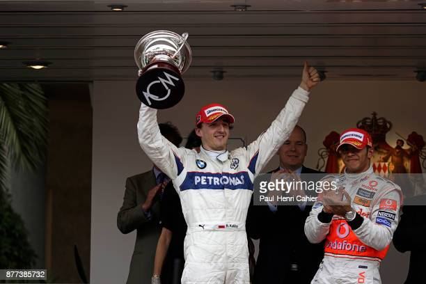 Robert Kubica Lewis Hamilton Grand Prix of Monaco Circuit de Monaco 25 May 2008 Robert Kubica celebrating his second place in the 2008 Monaco Grand...