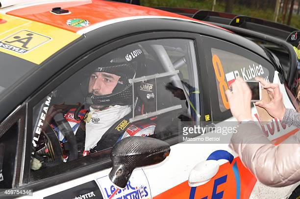 Robert Kubica of Poland and Alessandra Benedetti of Italy compete in their Ford Fiesta RS WRC during Day Three of the Rally di Monza on November 30...