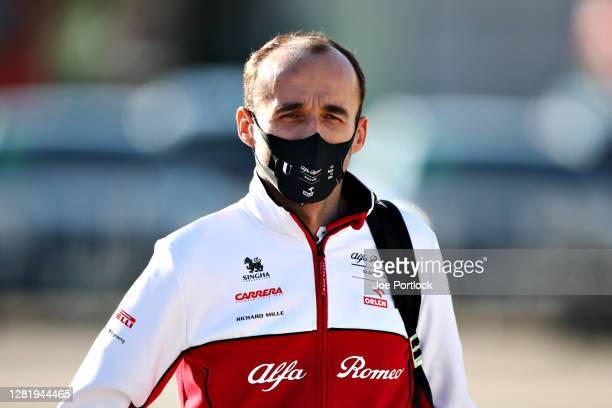 Robert Kubica of Poland and Alfa Romeo Racing walks in the Paddock before final practice ahead of the F1 Grand Prix of Portugal at Autodromo...