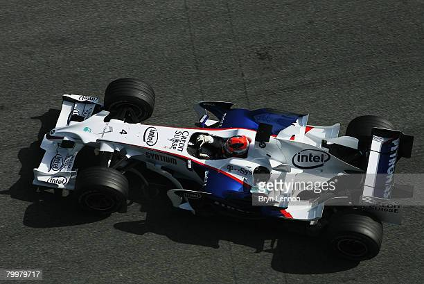 Robert Kubica of Poland and BMW leaves his pit garage during Formua One Testing at the Circuito de Jerez on February 12 2008 in Jerez Spain