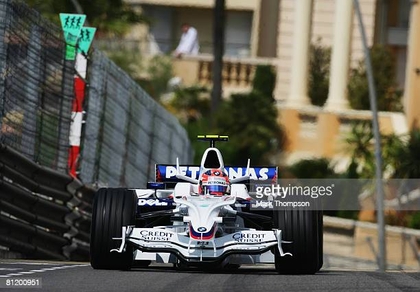 Robert Kubica of Poland and BMW Sauber drives during practice for the Monaco Formula One Grand Prix at the Monte Carlo Circuit on May 22, 2008 in...