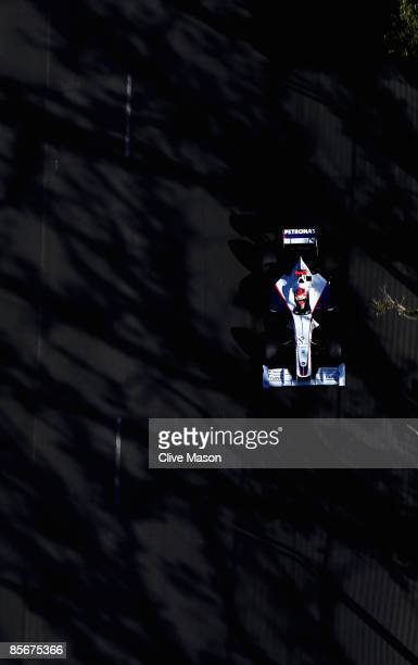 Robert Kubica of Poland and BMW Sauber drives during qualifying for the Australian Formula One Grand Prix at the Albert Park Circuit on March 28,...