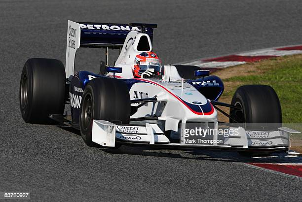 Robert Kubica of Poland and BMW Sauber driving the new regulation Formula 1 specification car during day one of Formula One Testing at the Circuit de...