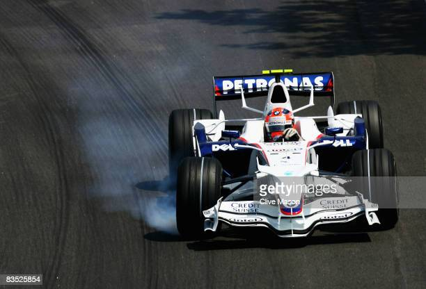 Robert Kubica of Poland and BMW Sauber locks his brakes during qualifying for the Brazilian Formula One Grand Prix at the Interlagos Circuit on...